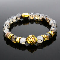 Hot Sale Men's Black Lava Stone Gold Lion Buddha Beaded Charm Bracelets Cheapest