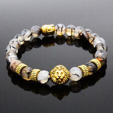 Hot Sale Men's Black Lava Stone Gold Lion Buddha Beaded Charm Bracelets Cheapest