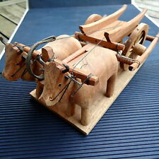 Sculpture Charrue Avec Boeufs Bois Artisanat Viêtnam Main 26 x13x10 Cm - 435 Grs