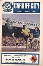 Football Programme - Cardiff City v Portsmouth - Div 2 - 1971