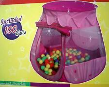 Prinzessin Bällebad Palast Spielschloß Spielzelt Zelt incl. 100 bunte Bälle