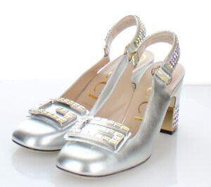 43-39  NEW 1,490 Women's Sz 37.5 M Gucci Mid-Heel Slingback Pumps In Silver