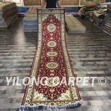 YILONG 3'x12' Handmade Silk Hallway Rug Runner Medallion Lobby Carpet ZW085C