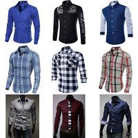 New Mens Fashion Luxury Casual Slim Fit Stylish Long Sleeve Dress Shirts Tops GH