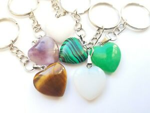 Heart Quartz Keyring Natural Stone Tigers Eye Amethyst Malachite Opal Selenite