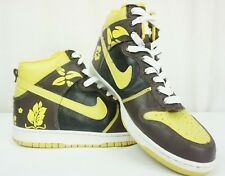Men's Nike Dunk High Customs Chocolate Froral Basketball Sz 11 Brown Mustard