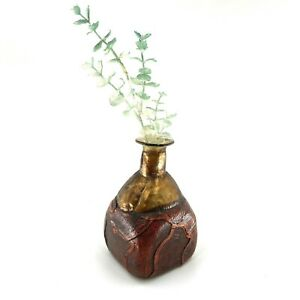 Vintage Leather And Metal Wrapped Glass Decanter Bottle Vase MCM Decor