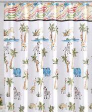 "NIP $59 SKL Safari Fabric Shower Curtain Palm Trees Zebras Giraffes  70"" X 72"""