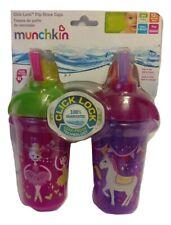 Munchkin Click Lock Flip Straw Cups 2pk 9 Oz Pink Ballerina Purple Unicorn