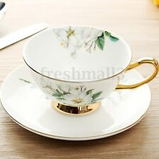 Ceramic Tea Cup Bone China Magnolia Porcelain Coffee Teacup with Saucer Set Gift