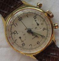 Chronograph mens wristwatch gold filled case cal. Landeron 35,5 mm. in diameter