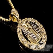 Oval Medallion Charm Pendant Silver Chain Men'S 10K Yellow Gold King Tut Pharaoh