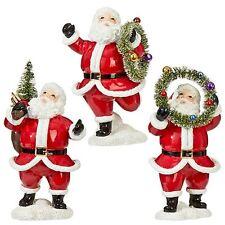 Set/3 RAZ Imports Dancing Bottle Brush Santa Retro Vntg Style Christmas Decor