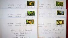 """6 timbres oblitérés sur lettre , thème """" des fruits pour une lettre verte"""" 2012"""