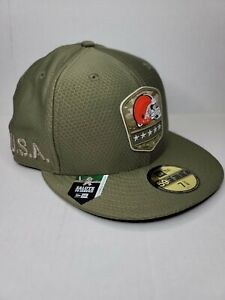 New Era 59FIFTY NFL Cleveland Browns Salute to Service Green Cap Hat 7-3/8