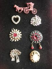 LOT OF7 COSTUME JEWELRY PINS BROOCHES VINTAGE RHINESTONES GOLD/SILVER TONE
