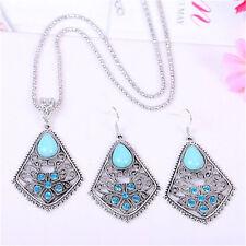 Tibetan Silver Flower Teardrop Turquoise Pendant Necklace Earrings Jewelry Set