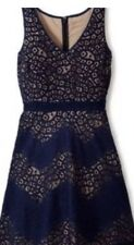 The Limited Navy Blue Tan Lace Fit & Flare Dress Size 14 NWOT
