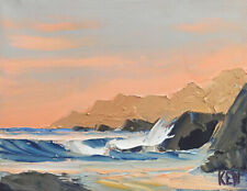 CENTRAL COAST TWO Original Expression Seascape Pacific Painting 8x10 043019 KEN