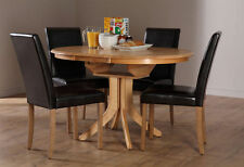 Contemporary Round Oak Kitchen & Dining Tables with Extending