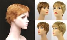 100% HUMAN HAIR WOMEN SHORT SLIGHTLY WAVY STRAIGHT HAIR PIXIE WIG W/ BANGS DAISY