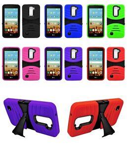 For LG K10/ K 10 AT&T T-Mobile Rugged Armor Hybrid stand Cover Soft Hard Case