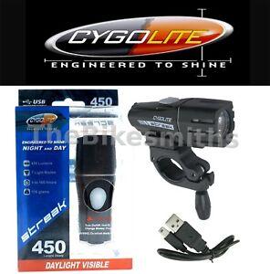 Cygolite Streak 450 Lumen Headlight Bright Bike Light USB Rechargeable Cable