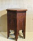 Vintage Hand carved Moroccan Table, TabouretTable, End Table,  Wood Side Table