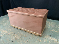 More details for eb1975 pink velour chest with hinged lid & casters ottoman vintage blanket box