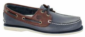 Timberland 2 Eye Lace Up Navy Blue Brown Leather Mens Boat Shoe A16MJ B70C