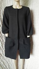 COS grey wool mix 3/4 bishop bell sleeved coat with pleated pockets size M-L