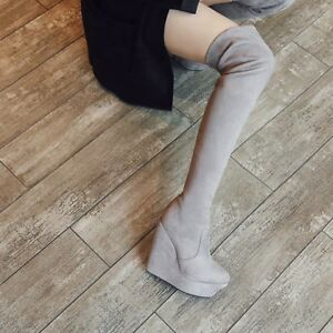 Fashion Women's Suede Over The Knee Boots Platform Wedge High Heels Casual Shoes