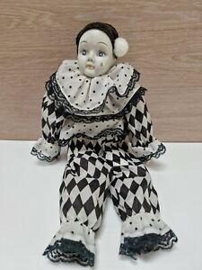 Vintage Pierrot Clown Porcelain Doll 1980's. Black Clothing White checkered