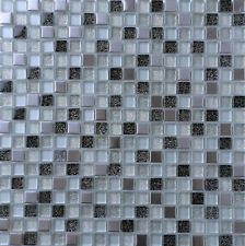 Black & Silver Glass and Brushed Steel Mosaic Tiles 0151