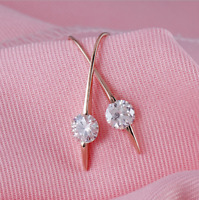 4Ct Round Attractive Cut Moissanite Drop/Dangle Earrings 14K Rose Gold Finish