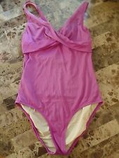 ladies J. CREW 1 PIECE PURPLE SWIMSUIT under wire SIZE 14 D CUP large V-NECK