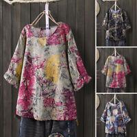 ZANZEA Womens Summer Short Sleeve Printed Shirts Casual Loose Cotton Tops Blouse