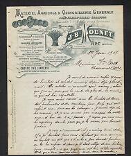 """APT (84) MATERIEL AGRICOLE TAILLANDERIE & QUINCAILLERIE """"J.B. MOUNET"""" en 1907"""