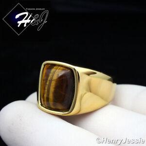 MEN's Stainless Steel Tiger Eye Gemstone Stone Gold Ring Size 8-13*TGR110