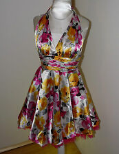 Women's ML COLLECTION satin ,floral dress prom,weding size US 0 / UK XS BNWT