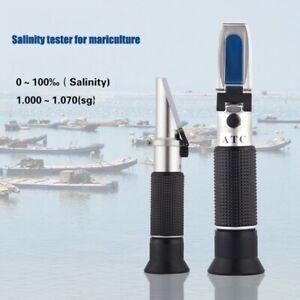 Handheld 0-100‰ Salinity Refractometer Salinity Meter 1.000-0.070SG ATC Detector