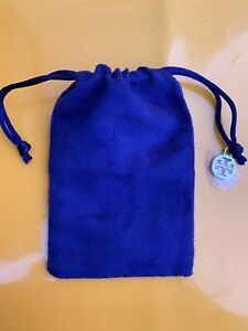 New Authentic Tory Burch Sealed Logo SMALL Blue Velvet Jewelry Pouch