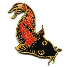 "KOI FISH IRON ON PATCH 4.5"" Gold Orange Black Japanese Carp Embroidered Applique"