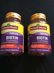 2 Pack Nature Made 3000 mcg Biotin Fruit Flavored Gummies 90 Ct Each 180 Gummies