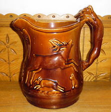 CRACKED Antique Brown Pottery Pitcher - Eagles Deer Wolf Animals - AS IS 10 1/4""