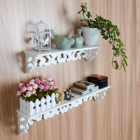White Wooden Wall Mounted Shelf Display Hanging Rack Storage Holder Home Decor