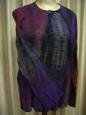 Chic Soul Indian Cotton Cheesecloth Tie Dye Kurta Kaftan Top with Long Sleeves