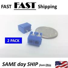 2 PACK --- 2 Way 2P PCB Mount Screw Terminal Block Connector 5.08mm Pitch Blue