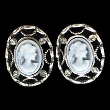 Cameo Earrings Ear Stud Oval Traditional Grey White Rhinestone