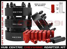 "4 Pc Silverado Sierra 2"" Thick Hub Centric Wheel Spacers + Red Spline Lug Nuts"